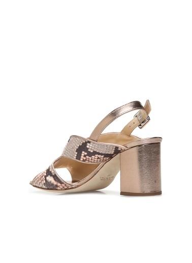 Divarese Divarese 5024265 Vizon Yılan Baskılı Kadın Deri Topuklu Sandalet Vizon